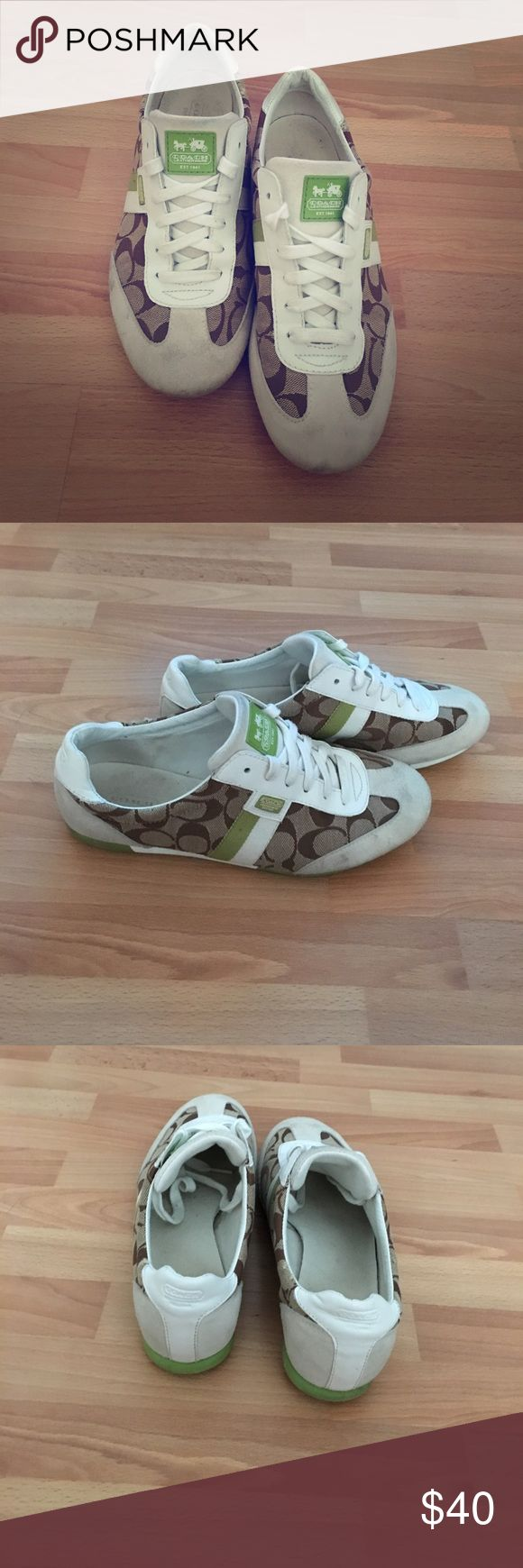 Coach Tennis Shoes Gently used coach tennis shoes. Small marks on Suede in front but still look great and tons of love left in them! Coach Shoes Sneakers