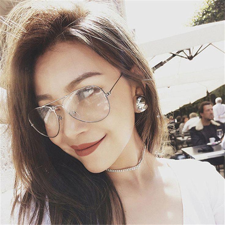 Classic Pilot Sunglasses Frames Optics Eyeglasses Transparent Lens Clear Glasses Women Men Optical Alloy Metal Eye Glasses Frame