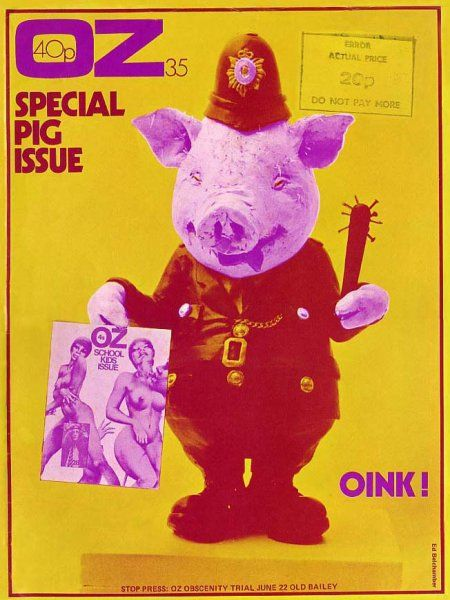 Oz Magazine cover by Ed Belchamber / Special Pig Issue / Nº 35 / May 1971