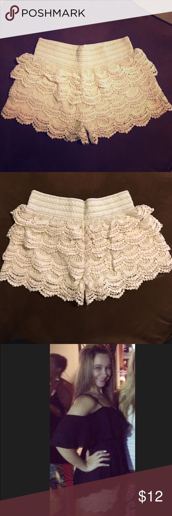 DAILY SALE‼️ Cream Crochet Lace Tiered Shorts Size medium. Worn a few short times. NO stains. Minimal wear. Measurements are in pics above. Comment any additional questions. Pair with a cute blouse! Bundle 2+ to save ‼️ Shorts