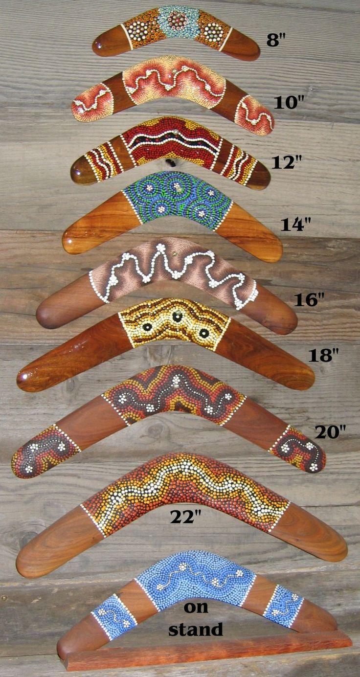 Hand-painted Aboriginal art on boomerangs.