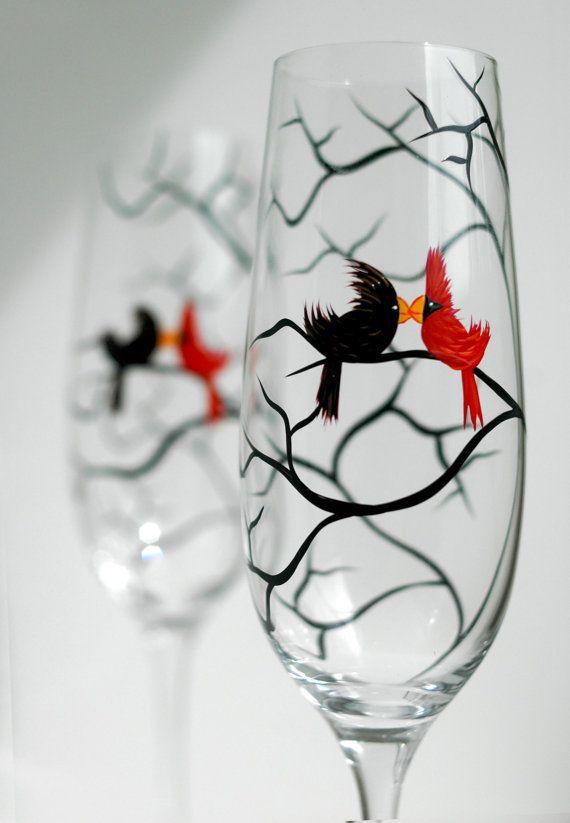 Personalized Love Bird Wedding Toasting by MaryElizabethArts