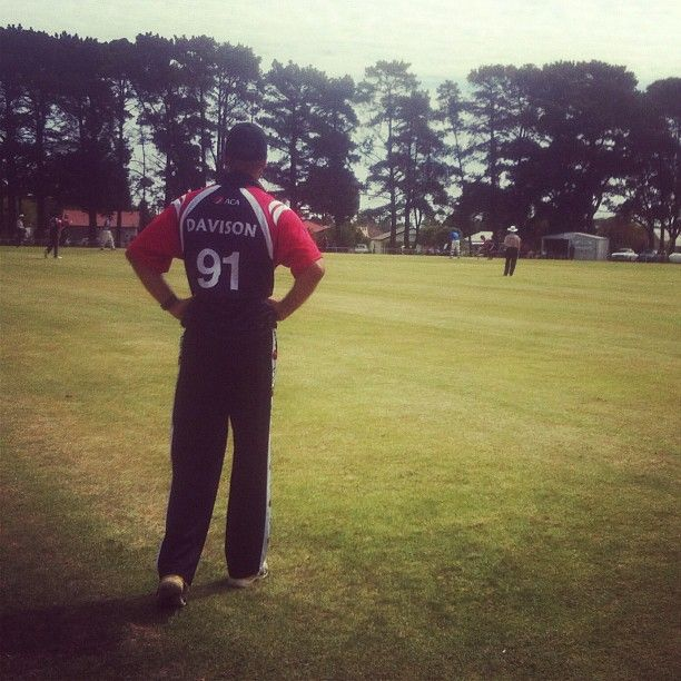 Former Canadian power-hitter John Davison in the outfield for the #ACAMasters v the Bass Coast XI