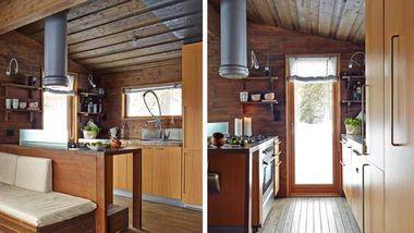 Kjøkkeninnredningen fra Boffi fungerer også som ryggstøtte mot sofabenken. En glassplate hindrer sprut fra matlagingen. Åpne skap er vaklg fremvor hyller for en mer luftig følelse. Høyskapet kan trekkes ut og rommer alt av tørrvarer. (Foto: Ragnar Hartvig)