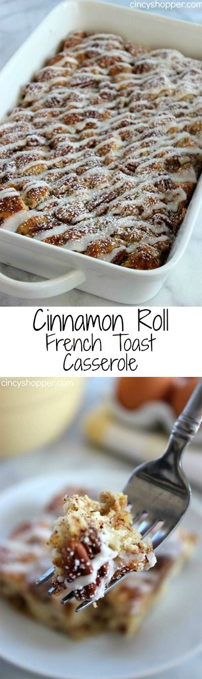 Cinnamon Roll French Toast Casserole- Yup, your store bought cinnamon rolls meet up with French Toast in a gooey breakfast casserole that everyone will enjoy.