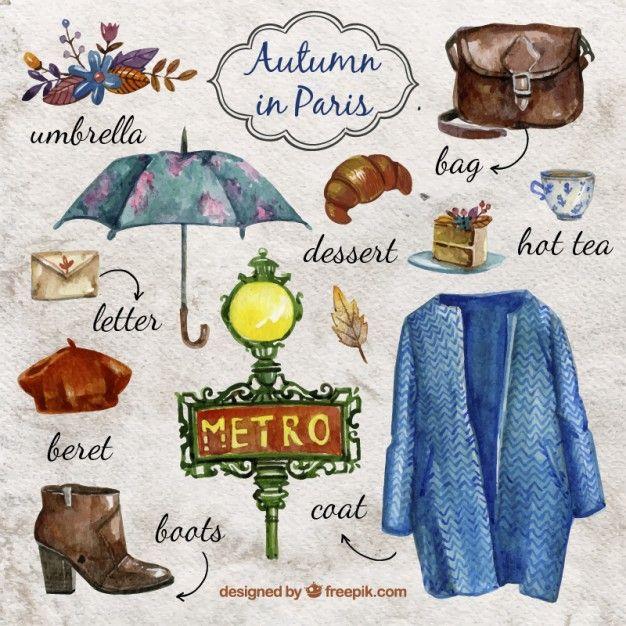 Aquarell Herbst in Paris Kostenlose Vektoren