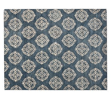 Empire Scroll Rug - Indigo #potterybarn.  THE BLUE OF THE OTTOMAN NEED NOT MATCH THE RUG; IT NEED ONLY WORK WELL WITH IT.  I HAVEN'T SEEN THE FABRIC IN PERSON, BUT THIS MIGHT WORK.