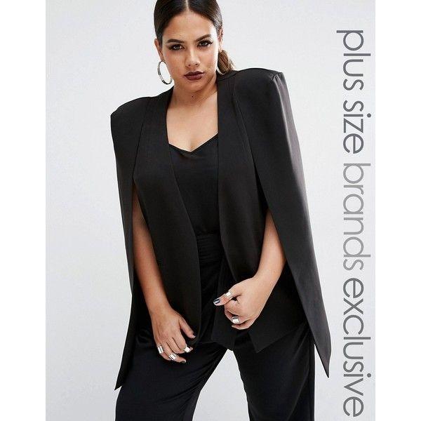Lavish Alice Plus Collarless Cape Blazer (110 NZD) ❤ liked on Polyvore featuring outerwear, jackets, blazers, black, plus size, cape jacket, plus size womens jackets, short-sleeve blazers, plus size cape and plus size cape blazer