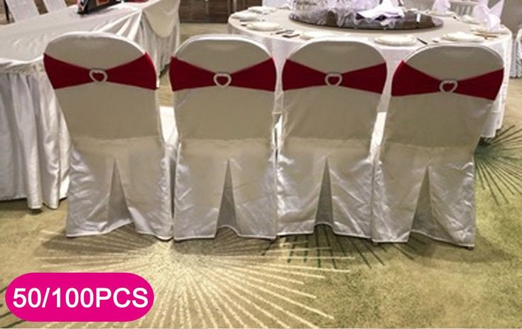 50/100 Pcs Spandex Stretch Chair Cover Sash Bow Wedding w/ Buckle Slider Sashes