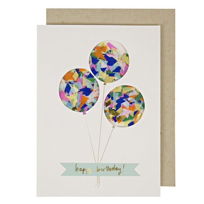 Wenskaart verjaardag Ballonnen met confetti