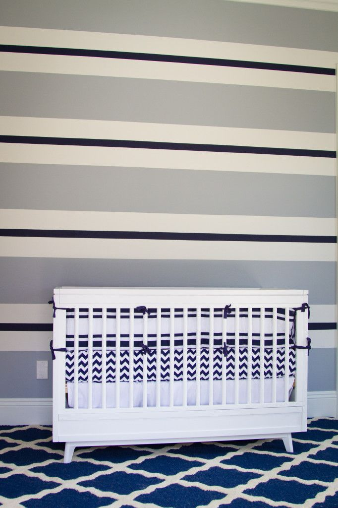 Blue-striped accent wall - so preppy!: Stripes Nurseries, Boys Nurseries, Blue Gray, White Cribs, Projects Nurseries, Blue Stripes, Baby Boy, Chevron Bedding, Accent Wall