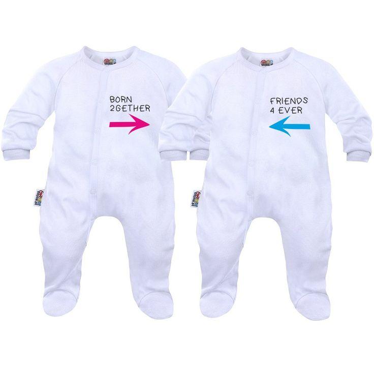 2 x pyjama bébé jumeaux : born 2gether / friends 4 ever - SiMedio