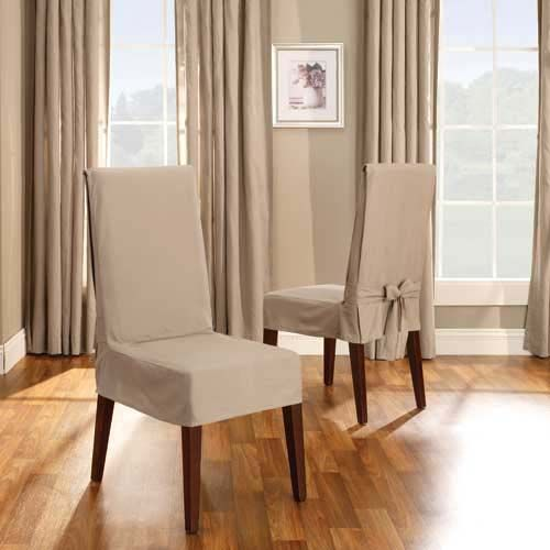 fabric living room chairs sliding doors for linen cotton duck short dining chair cover from get ...
