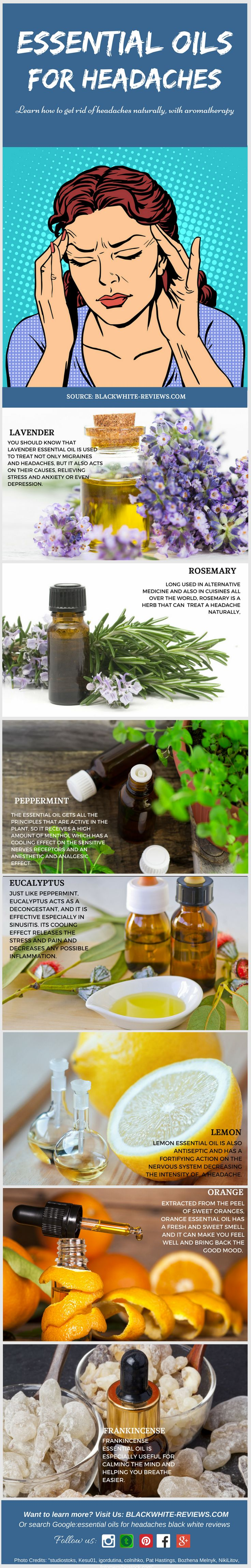 Essential oils for headaches. Discover a headache relief by using aromatherapy.