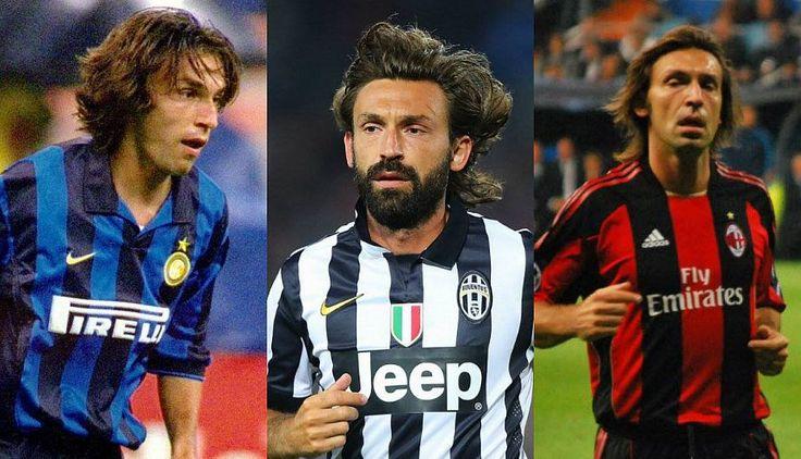 Midfield Maestro Andrea Pirlo  Inter 1998–2001,  Milan 2001–2011, Juventus 2011–2015 #Juventus #Inter #Milan #Andrea #Pirlo