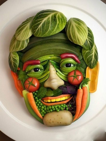 Creative fruits and vegetables face