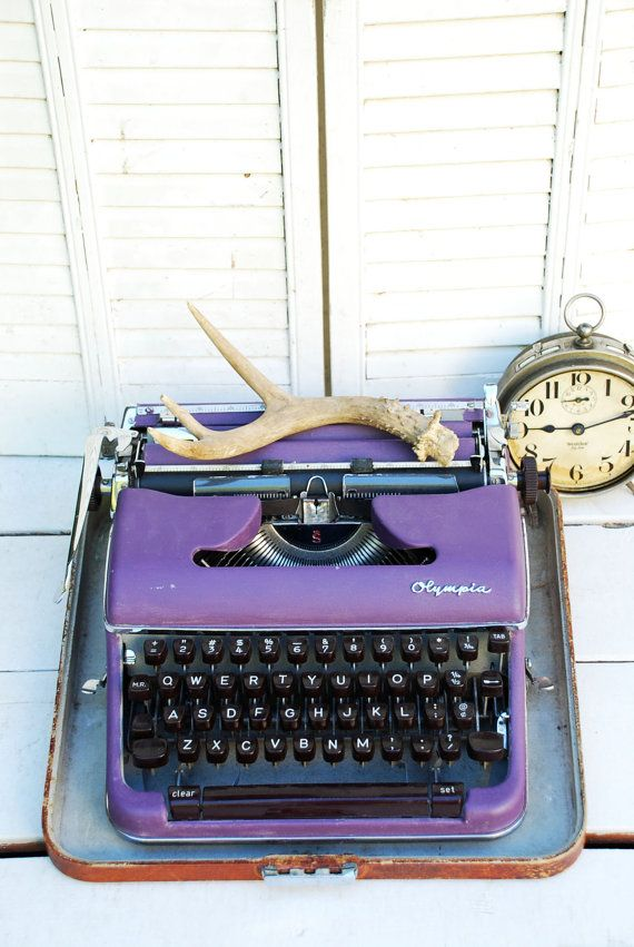 Vintage purple typewriter