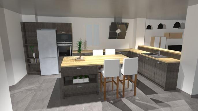 Grande cuisine en bois avec lot espace repas pour 4 for Ilot central cuisine 6 personnes
