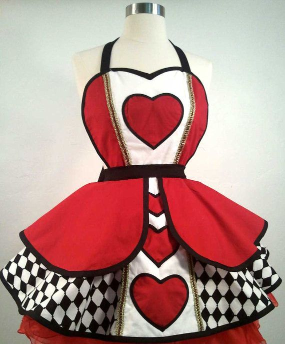 Queen Of Hearts Pin Up Costume Apron by PickedGreen on Etsy, $75.00