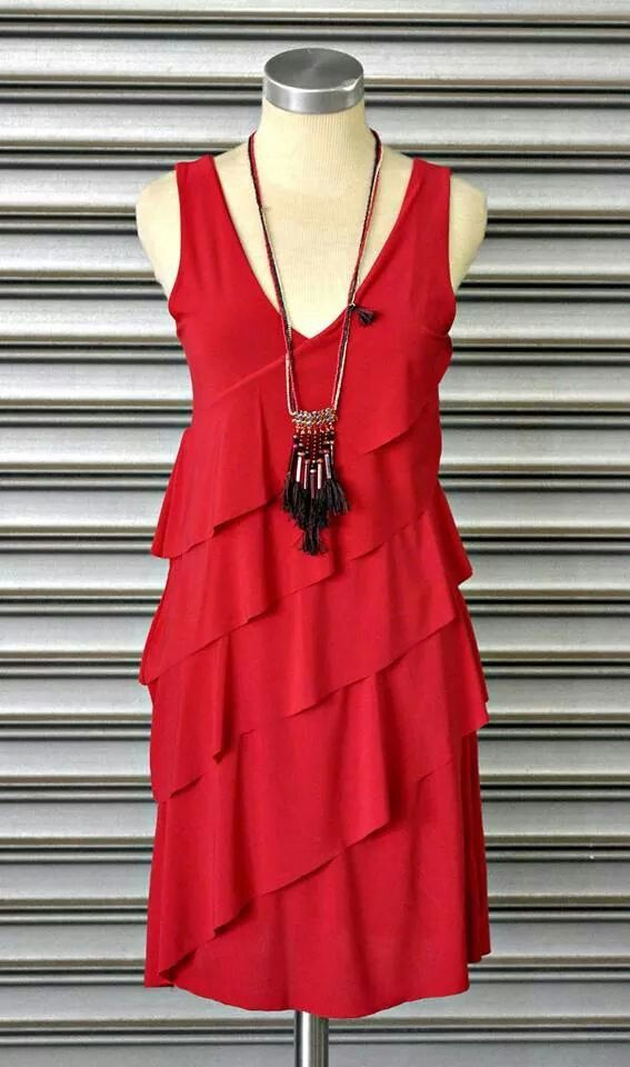 Radiant red ruffle dress at #NicciBoutiques #summer2014