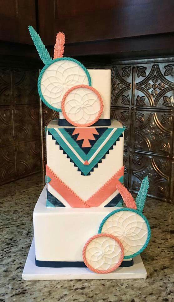 Native American Dreamcatcher Wedding Cake - Beautiful colors and pattern. Very cool!!