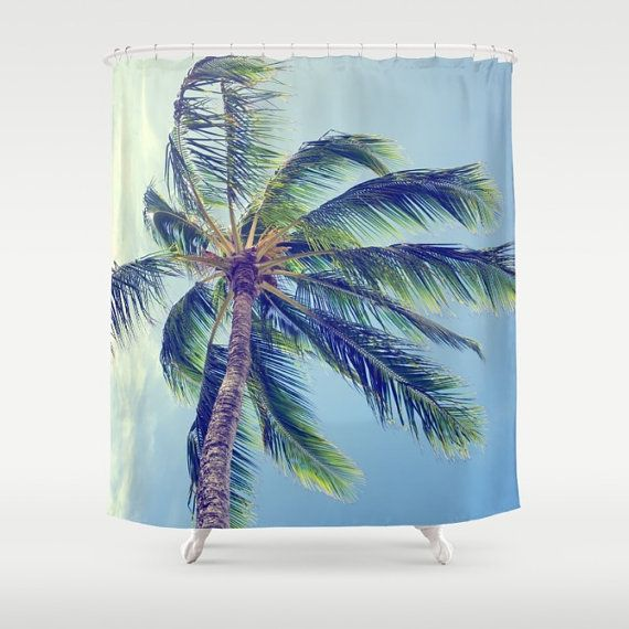 Vintage Tropical Shower Curtain retro palm shower curtain