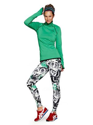 Graffiti Artist: The edgy Under Armour ColdGear Fleece Printed tights beat the morning chill thanks to a cozy brushed-knit interior. ($50, ua.com)
