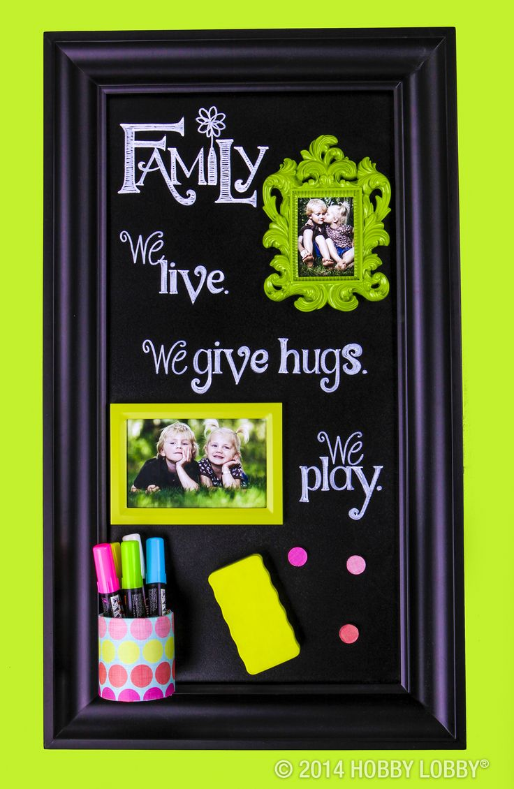 98 best picture frames images on pinterest picture frame chalkboard metal sheet tucked into a frame and embellished with chalkboard markers and homemade jeuxipadfo Images