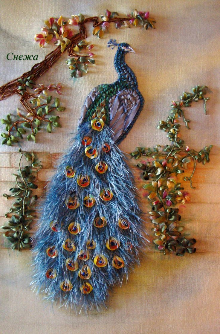 Simply amazing ribbon embroidery peacock!