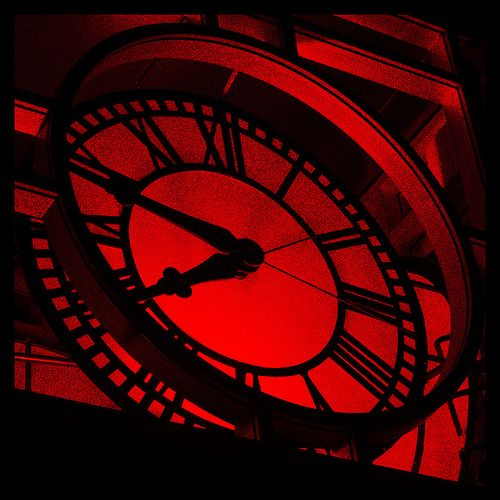 Red and black (but mostly red) Grand Clock. Awesomely Creepy.