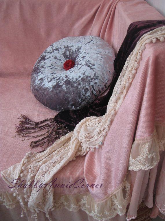 Luxury throw pillows Beige velvet Round by ShabbyAnnieCorner