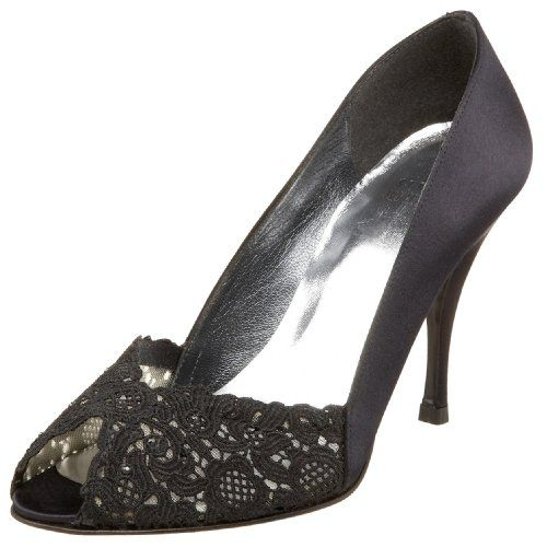 $375.00-$375.00  Elegant peep toe pump with a romantic design.  Luxurious satin upper. Subtle crystal accents adorn the Chantilly lace vamp. Combination textile/leather lining. Satin heel. Leather sole. Made in Spain. Heel Height: 2 3⁄4 in Weight: 6 oz Product measurements were taken using size 6.5. Please note that measurements may vary by size.