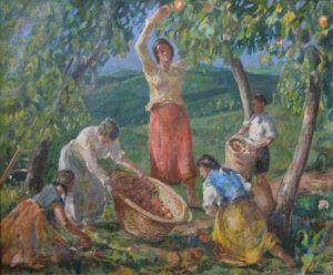 """COLLINASY JURAJ 1907  OBERANIE OVOCIA    1951, olej, plátno, 48 x 58 cm, vľavo dole: """"Collinasy 51""""    #art #auction #oberanieovocia #museum #auctionhouse #diana"""