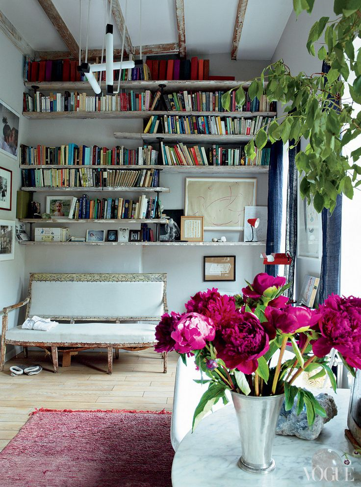 I Am Curious To Read Their Spines. And The Peonies Are A Great Touch. Vogue  Magazine: Miranda Brooks U0026 Bastien Halardu0027s Brooklyn Home