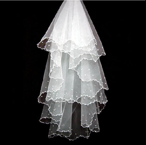 2017 velos de novia Ivory One Layer Pearls Satin Edge Long Train Bridal Veil voile mariage Wedding Accessory Cheap Stock