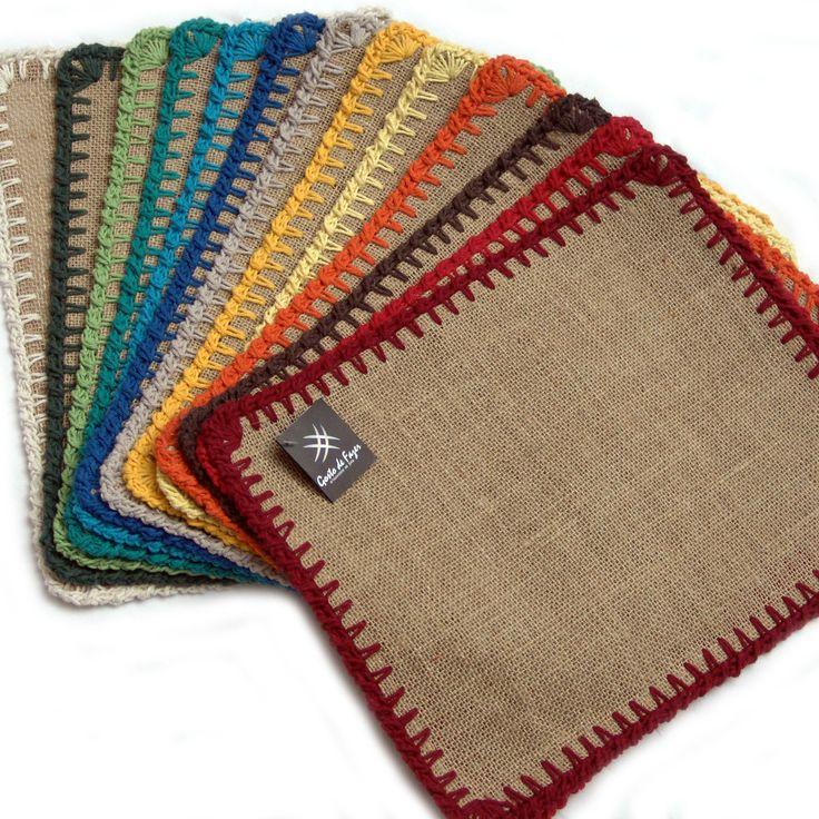 Peças avulsas em juta e crochê com barbante www.gostodefazer.com