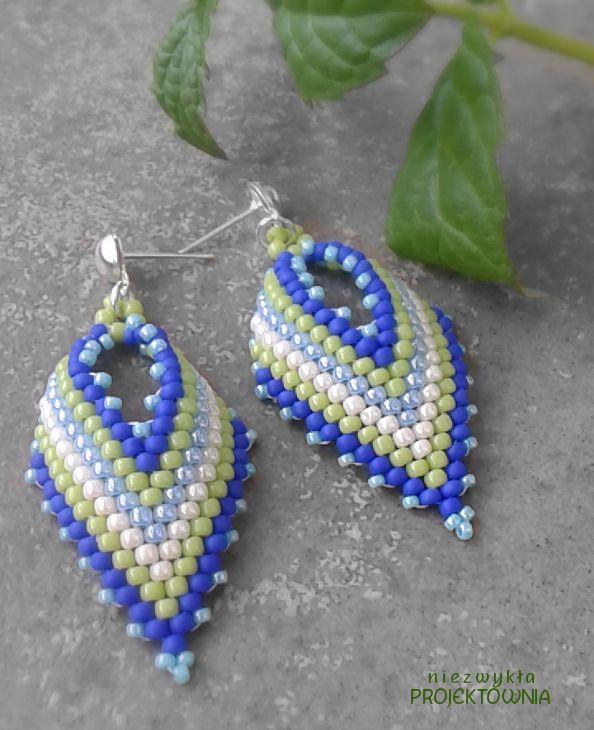 #Kolczyki na lato :) #Listki w orzeźwiających kolorach. #summerstyle #summer #jewelry #handmade #russianleaf #peyote #blue #green #earrings
