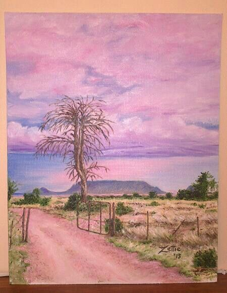Karoo scene. Painting done from photo by Rob Southey