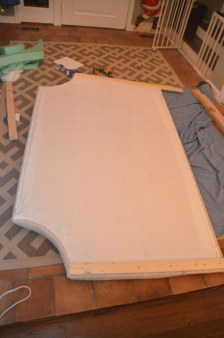DIY fabric covered headboard with legs!