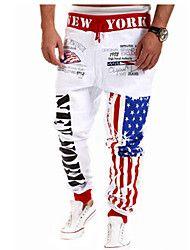 Les pantalons de survêtement de sport pour hommes, blanc noir gris bleu impression étoilé