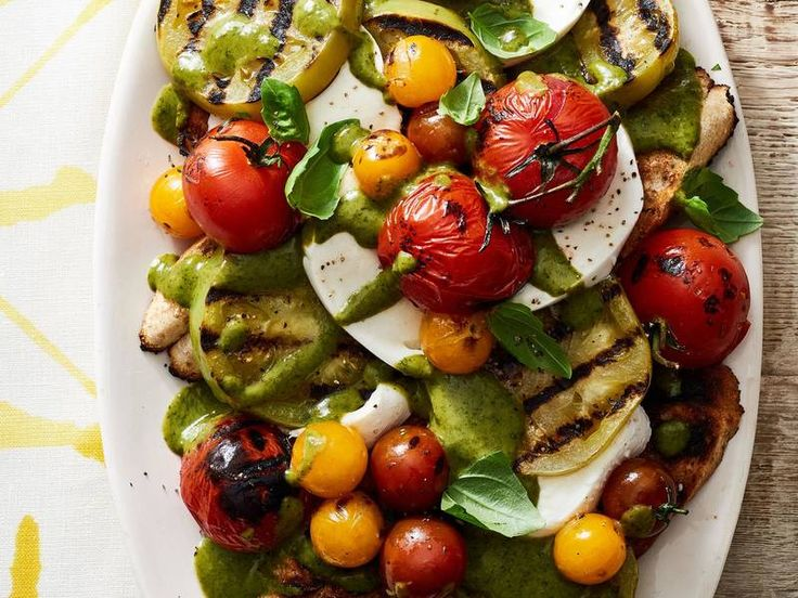 Grilled Tomato Salad with Creamy Basil Dressing image