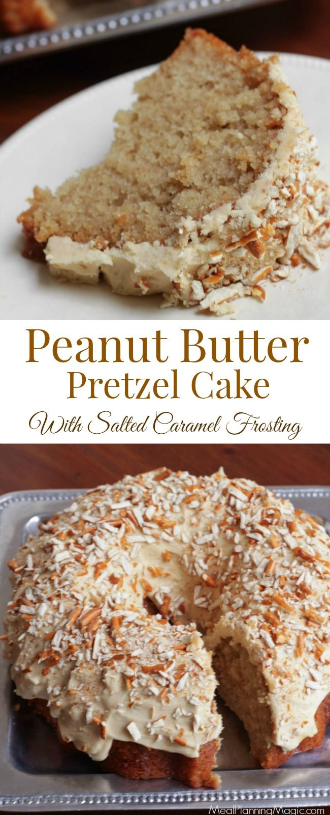 This Peanut Butter Pretzel Cake is filled with Salted Caramel Syrup and topped off with creamy Salted Caramel Frosting the sprinkled with crushed pretzels. And each step can be made ahead--making it a perfect peanut butter lover's cake if you ask me! #WeekdaySupper #CakeMagic #ad @workmanpub @thewrightcook http://www.mealplanningmagic.com/peanut-butter-pretzel-cake-weekdaysupper/