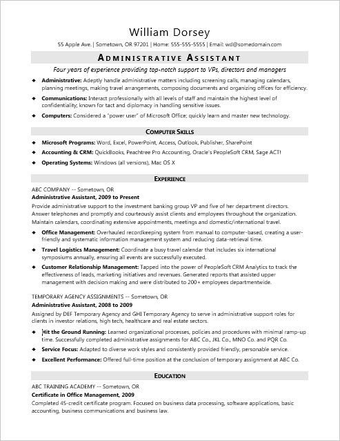 sample resume for a midlevel administrative assistant - Executive Assistant Sample Resume