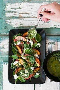 spinach salad with tomato, grilled nectarine, buffalo mozzarella and a parsley lemon vinaigrette
