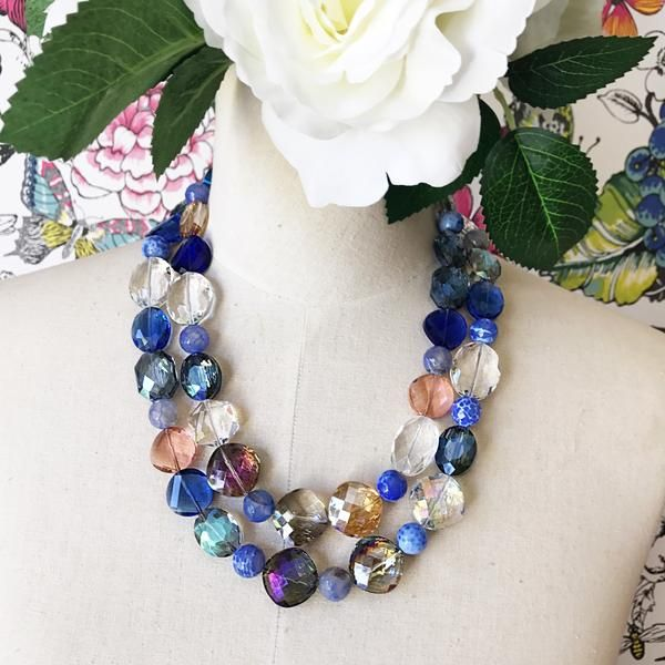 A one off beauty of super sparkling faceted glass and large blue agate beads. The clasp is antique silver, and is nickel/lead and cadmium free. A timeless state