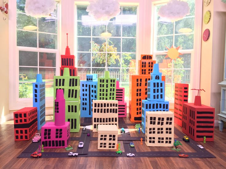 Tanya Memme DIY: Turn your cardboard boxes into a super fun box city for the kids!