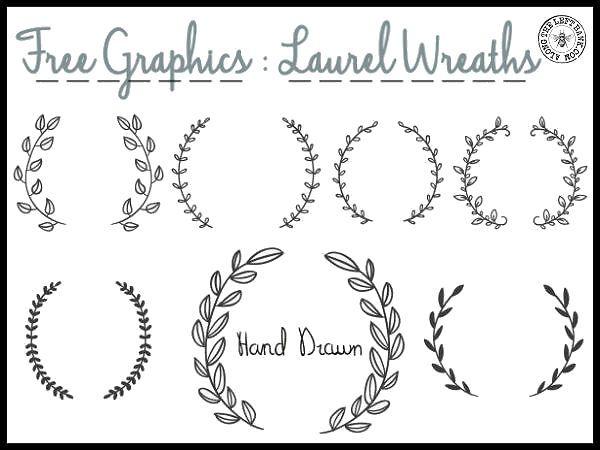 "Free Laurel Wreath graphics and ""Merci"" designs.  http://alongtheleftbank.com/wp-content/uploads/2015/01/laurels300dpi.jpg"