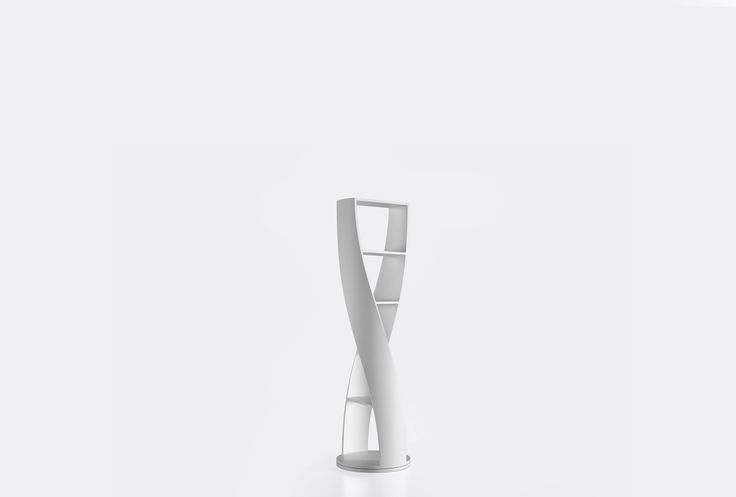 Cylindrical shelf from the collection MYDNA by Joel Escalona, with four shelves and swivel base. Made of wood and heavy-duty fibers. Finished in natural wood or semi-gloss lacquer. - MYDNA White #Bookcase #furniture #design #shelf #nono #coolinteriors