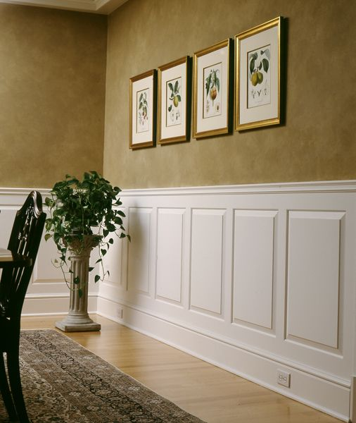 Raised Panel Wainscoting    Raised Panel Wainscoting is the most formal wainscoting and has beveled edges that are very noticeable.  The panels sit off of the wall slightly more than the rails and styles.