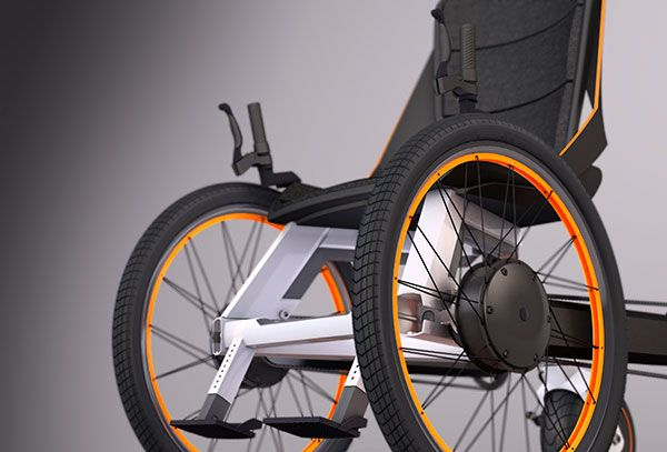A multi-terrain electric wheelchair, operated via dual hand controls. #wheelchair #mobility #YankoDesign